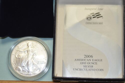2006-W Uncirculated Burnished Silver  American Eagle w/Box & COA   Item # 2421