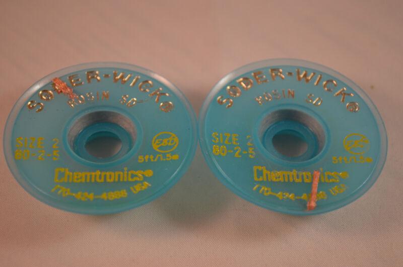 "2X ORIGINALChemtronics80-2-5 Soder-Wick Rosin SD Desoldering  0.060""/1.5mm 5ft"