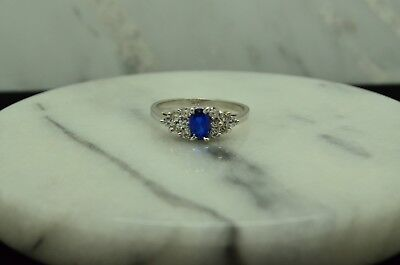14K WHITE GOLD OVAL BLUE TOPAZ SOLITAIRE RING BAND W/ CZ ACCENTS SIZE 7.25 Blue Topaz White Gold Bands