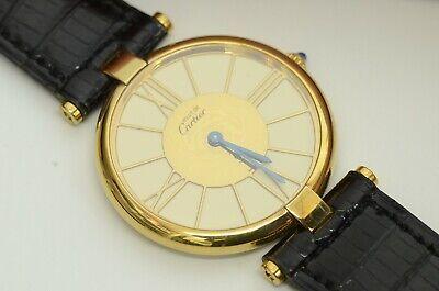 Authentic Must de Cartier Watch 30mm Vermeil Ladies Quartz 18K Round Swiss Gold