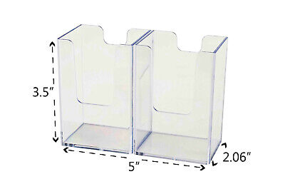 Vertical Business Card Holder Double Pocket Display Counter Stand