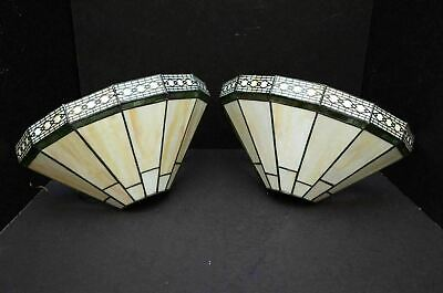 2 TIFFANY STYLE Stained Slag slag Glass Art Deco Mission Torchiere Wall sconces