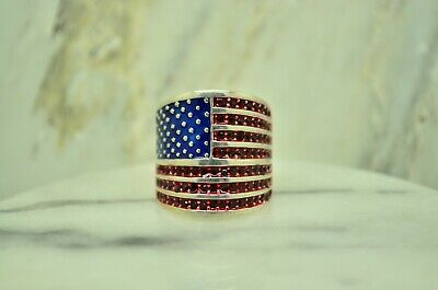 925 STERLING SILVER BIG RED & BLUE CZ AMERICAN FLAG RING SIZE 6.75  #24703 925 Sterling Silver American Flag