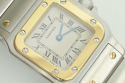 Auth Cartier Santos Watch Galbee Square 18k Gold Ladies 24mm Quartz SS Logo Clip