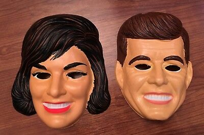 John F. & Jackie Kennedy JFK 1960's Ben Cooper Halloween Masks Unused