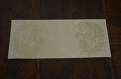 Cream And Gold Paisley Money Holder Letter Envelopes 25 Pieces
