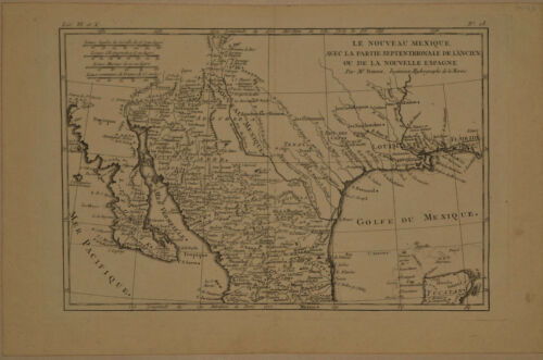 1780 Genuine Antique map Mexico, Texas, Baja, Gulf of Mexico. Bonne