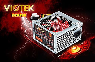20/24 Pin Viotek 550W 20+4 pin 120mm Fan ATX Power Supply PSU w/ SATA & PCI-E
