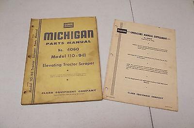 Clark Michigan Parts Manual Tractor Scraper 110-9-ii No. 4060