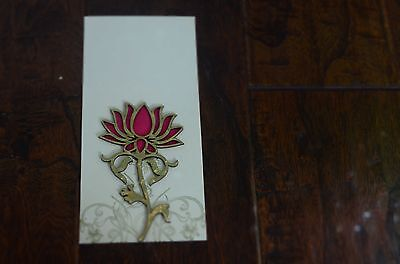 Cream And Pink Gold Lotus Money Holder Letter Envelopes 5 Pieces