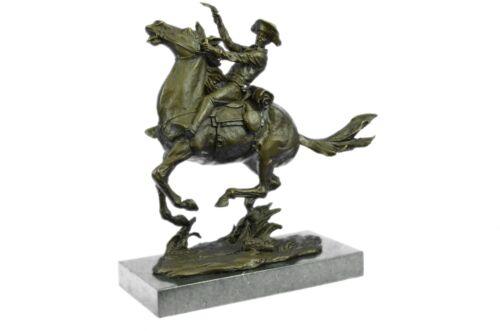 Cowboy On Horseback Western Bronze Sculpture By Frederic Remington Home Decor - $499.00