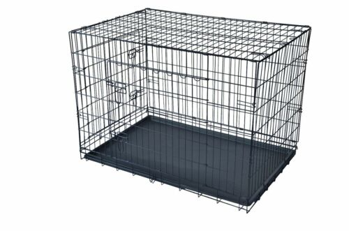 """Dog w/Divider Cat Crate Cage Kennel w/Tray LC Black 48"""" 2 Door Pet Cage Folding"""