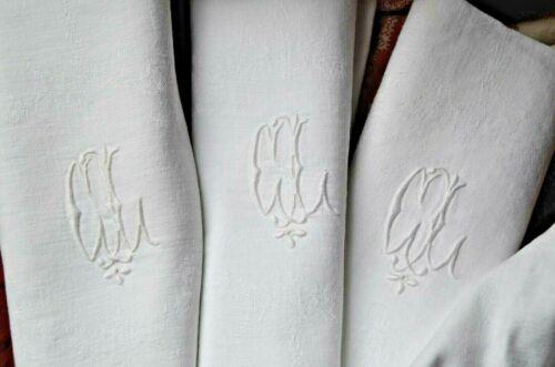 4 Antique French damask weave floral dinner napkins, CL monograms