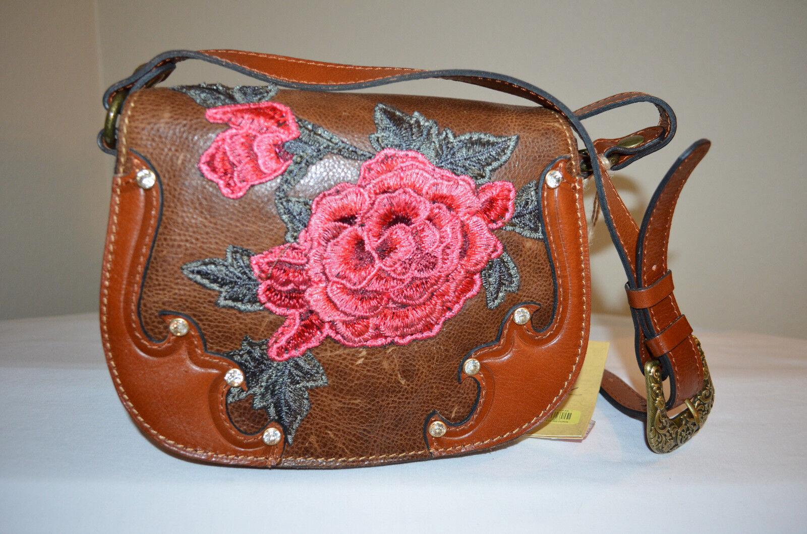 NWT$199 Patricia Nash Euro Western Appliqué Rose Salerno Fl