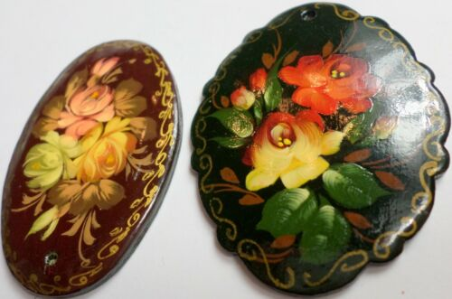 2 Vintage Russian Hand Painted Lacquer Wooden Floral Pendants XL Signed 18