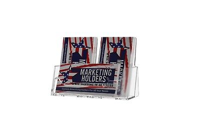 Triple Pocket Acrylic Business Card Holder 2 Vertical 1 Horizontal Display