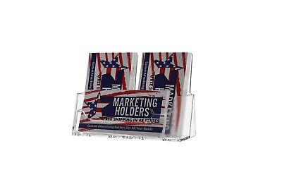 Triple Pocket Acrylic Business Card Holder 2 Vertical 1 Horizontal Display