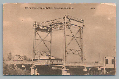 Bayou Lafourche Bridge THIBODAUX Louisiana—Rare Vintage Parish Postcard 1940s