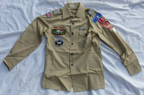 Used Official Boy Scouts of America BSA Tan Uniform Shirt (Small) Many Patches