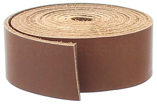 """1"""" Brown Leather Strap - 5 Feet - 25mm Genuine Cowhide Leather Strip"""