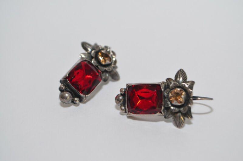 Vintage Elena Solow Blue Jaguar Mexican Sterling Silver Earrings