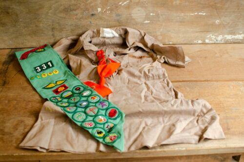 Vintage Girl Scout Brownie Uniform Dress Sash  Badges