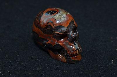"2"" Iron Tiger Eye Skull Realistic Gemstone Hand Carved Crystal Healing Chakra"