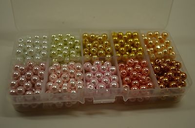 Glass Pearl Bead kit with plastic Storage container, 600pc  Mixed Color, 6mm