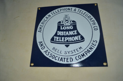 ANDE ROONEY PORCELAIN SIGN - AT & T LONG DISTANCE