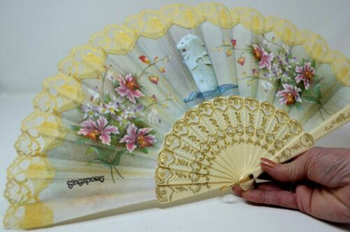 SINGAPORE Folding HAND FAN Merlion Flower Lace Chinese Collectible Gift Souvenir