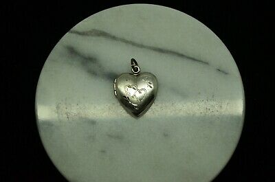 925 STERLING SILVER SMALL PUFFED HEART LOCKET W/ HEARTS PENDANT CHARM  #X23942 ()