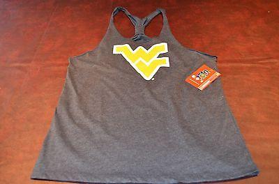 Nwt Wvu West Virginia Mountaineers Womens Ladies Tank Top T Back Shirt  Gray