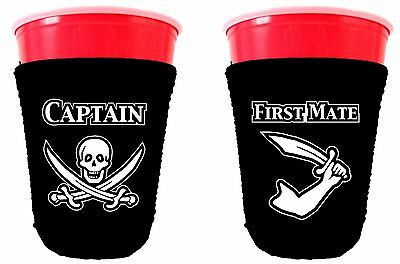 Captain and First Mate Pirate Neoprene Solo Cup Coolie Set, Choice of Colors