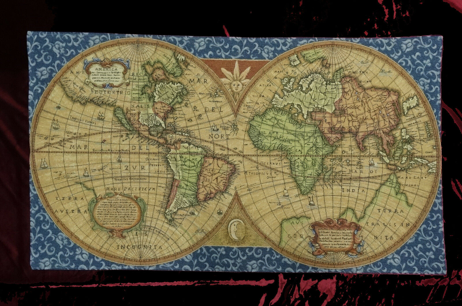 Wall carpet tapestry italy old map world atlas antique design blue wall decoration wall picture retro scene high quality replicas from upholstery fabric machine in a very complex web process and manufactured by hand gumiabroncs Gallery