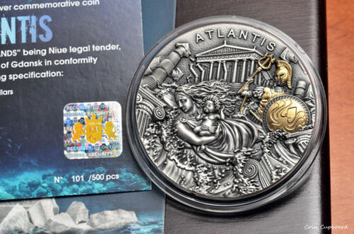 2019 - Niue $5 - ATLANTIS, 1st issue in Legendary Lands series - 2oz only 500