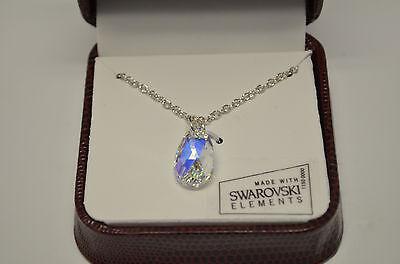 Aurora Borealis Pendant (Aurora Borealis Teardrop Pendant Necklace w Swarovski Elements Crystal  Gift Box )