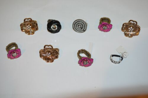 COSTUME JEWELRY Expandable Rings LOT of 9, New