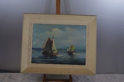 ANTIQUE PAINTING CANVAS PAINTING SAILBOAT FRAME WOOD SEA BOATS SIGN ?