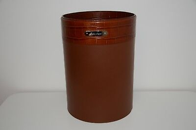 Ralph Lauren Home Embossed Alligator Print & Leather Round Trash Can Waste Bin