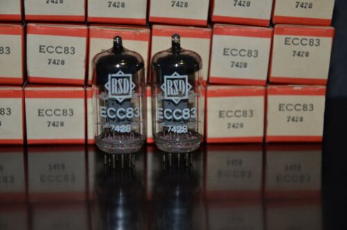 ECC83 12AX7 RFT Germany rebranded RSD NOS Matched Pair in original boxes 1962