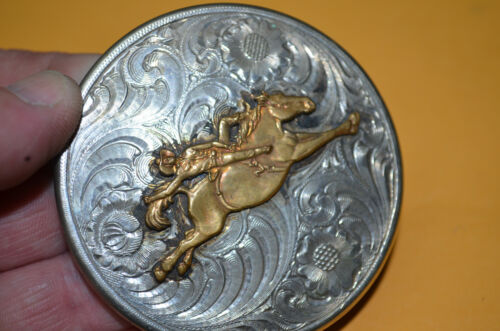 WAGE Marick Copenhagen Snuff Chewing tobacco Silver Lid With SADDLE BRONC SCENE