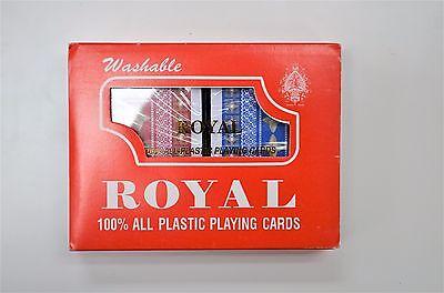 2-Decks  Royal 100% Plastic Playing Cards Set Plastic Case Vintage NEW
