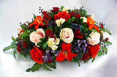 Centerpiece Wedding Roses Orange Head Table Lily Mantel Arrangement Altar Custom - Wedding Table Arrangements