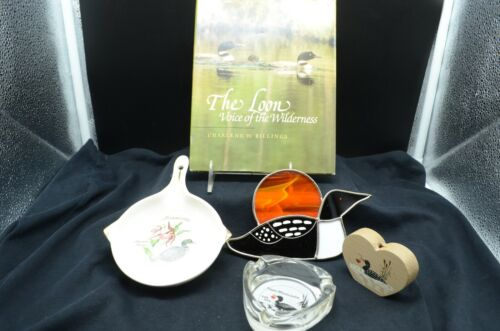 Group of 5 Loon Items-Suncatcher, Pottery Wallhanging, Ashtray, Book, Wood Shelf