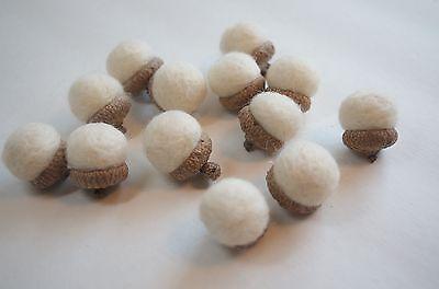 Ivory Cream Needle Felted Acorns Fall Home Decor Lot of 10 Autumn Christmas