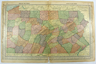 Pennsylvania MD DE NJ Original Antique 1918 Double Sided Hammond Engraved Maps