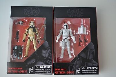 "Lot of 2 Star Wars Black Series 3 3/4"" Sandtrooper and Boba Fett Action Figures"