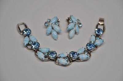 Baby Blue Candy (EXQUISITE! Vtg JULIANA Baby Blue Candy Striped Rhinestone Bracelet & Earrings!)