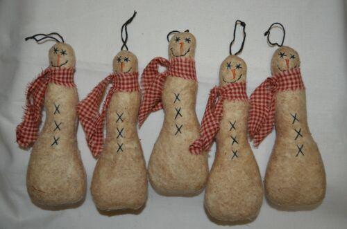 5 Stuffed Primitive Folk Art SNOWMAN Hanging Ornaments Ornie Fillers Tucks Decor