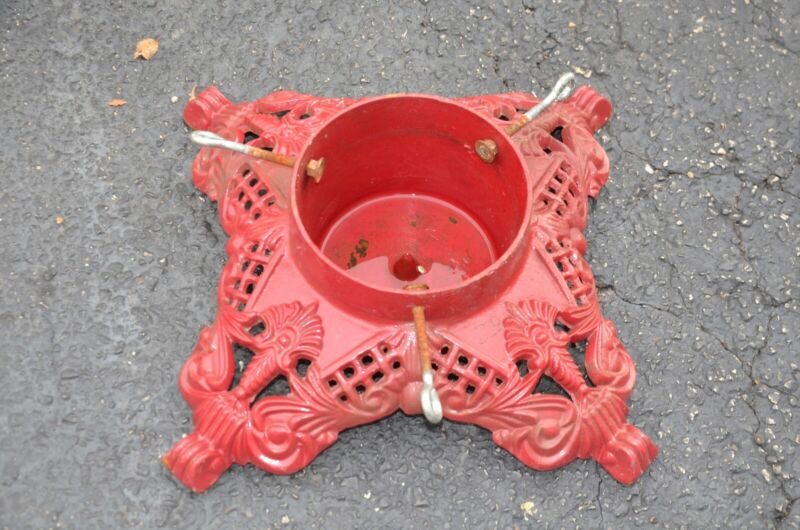 Vintage Cast Iron Christmas Tree Stand Heavy Ornate Red